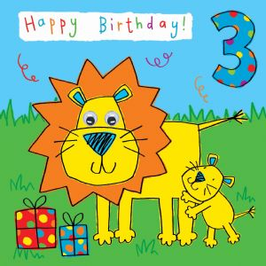 Childrens Birthday Card age 3 Lion